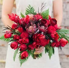 bouquet da sposa rosso particolare