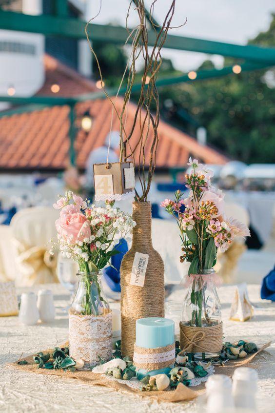 Centrotavola Matrimonio Stile Rustico : Centrotavola matrimonio fai da te in stile boho chic